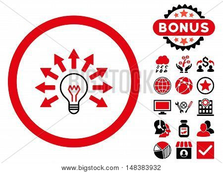Electric Light icon with bonus symbols. Vector illustration style is flat iconic bicolor symbols, intensive red and black colors, white background.