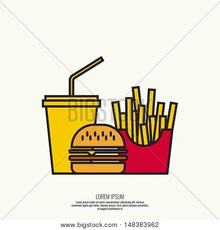 Abstract background soda, french fries, hamburger. The concept of fast food and unhealthy food. Burger