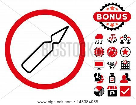 Empty Ampoule icon with bonus elements. Vector illustration style is flat iconic bicolor symbols, intensive red and black colors, white background.