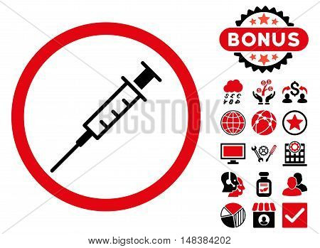 Empty Syringe icon with bonus elements. Vector illustration style is flat iconic bicolor symbols, intensive red and black colors, white background.