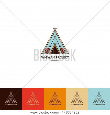 Set of wigwam logo. Colorful and line style. Indian teepee with ornamental elements. Boho elements. Vector illustration