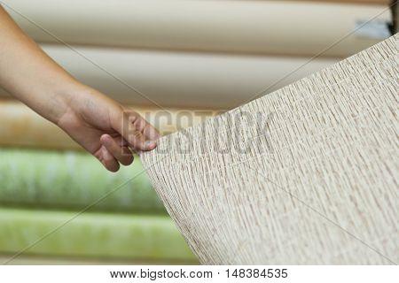 A teen buyer holding a new wallpaper