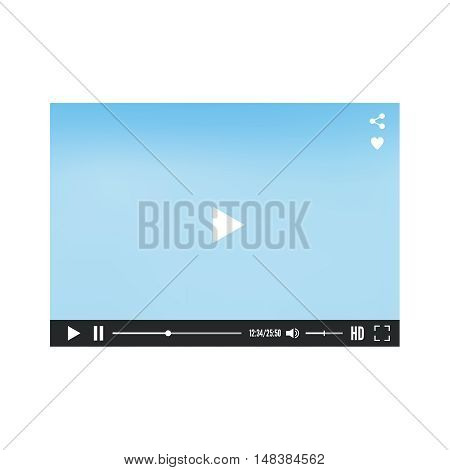 Video media player for web and mobile apps.  Vector illustration