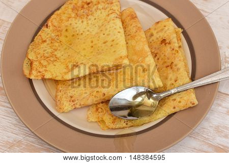 Crepes with honey. Crepes sweet dessert for the holiday home
