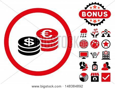 Euro and Dollar Coins icon with bonus images. Vector illustration style is flat iconic bicolor symbols intensive red and black colors white background.