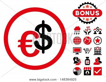 Euro and Dollar Currency icon with bonus symbols. Vector illustration style is flat iconic bicolor symbols intensive red and black colors white background.