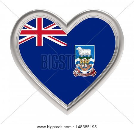 Falkland Islands flag in silver heart isolated on white background. 3D illustration.