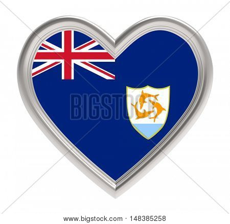 Anguilla flag in silver heart isolated on white background. 3D illustration.