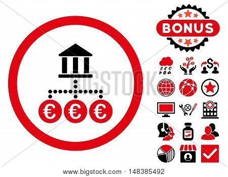Euro Bank Transactions icon with bonus symbols. Vector illustration style is flat iconic bicolor symbols intensive red and black colors white background.
