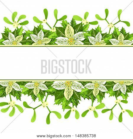 Christmas background with white poinsettia mistletoe and holly leaves decoration elements. Horizontal banner with copy space for your text.