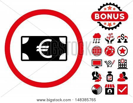 Euro Banknote icon with bonus pictures. Vector illustration style is flat iconic bicolor symbols, intensive red and black colors, white background.