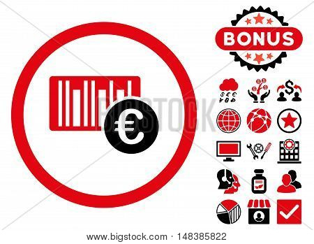 Euro Barcode icon with bonus elements. Vector illustration style is flat iconic bicolor symbols, intensive red and black colors, white background.