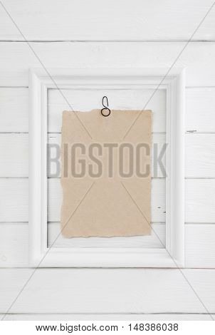 Old beige white wooden background in shabby chic style. Empty and nobody billboard.
