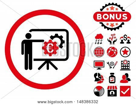 Euro Business Project Presentation icon with bonus pictogram. Vector illustration style is flat iconic bicolor symbols, intensive red and black colors, white background.