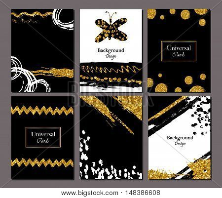 Brochure template design set with brush stroke . Grunge cards golden paint modern style poster or flyer. Strokes gold tinsel.