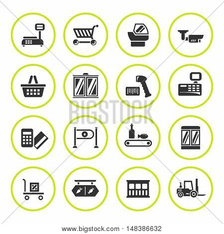 Set round icons of retail equipment isolated on white. Vector illustration