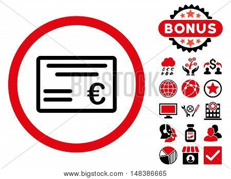 Euro Cheque icon with bonus pictures. Vector illustration style is flat iconic bicolor symbols, intensive red and black colors, white background.