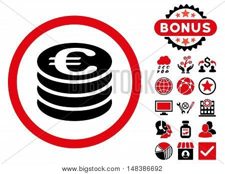 Euro Coin Column icon with bonus elements. Vector illustration style is flat iconic bicolor symbols, intensive red and black colors, white background.