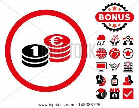 Euro Coin Columns icon with bonus design elements. Vector illustration style is flat iconic bicolor symbols, intensive red and black colors, white background.