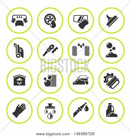 Set round icons of car wash isolated on white. Vector illustration