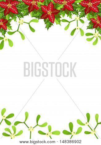 Christmas background with red poinsettia mistletoe and holly leaves decoration elements. Vertical banner with copy space
