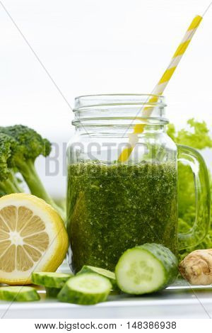 Detox diet. Fresh Detox Juices close up.