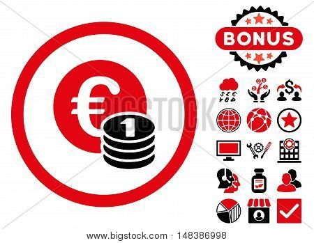 Euro Coins icon with bonus pictogram. Vector illustration style is flat iconic bicolor symbols, intensive red and black colors, white background.