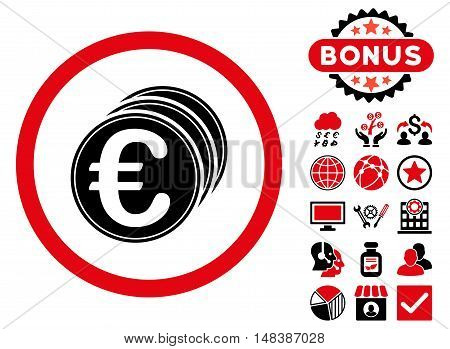 Euro Coins icon with bonus symbols. Vector illustration style is flat iconic bicolor symbols, intensive red and black colors, white background.