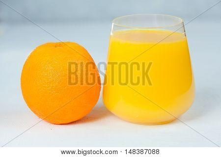 Delicious Fresh Squeezed Orange Juice In  Transparent Glass