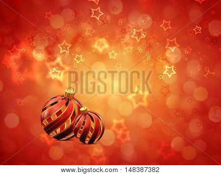 Christmas decoration baubles on red background copyspace , 3d illustration