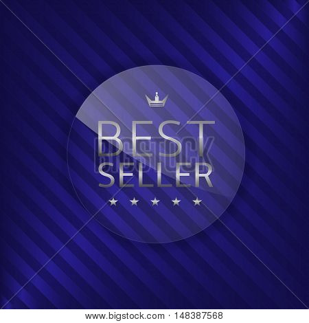 Best seller label. Glass badge with silver text, Luxury emblem