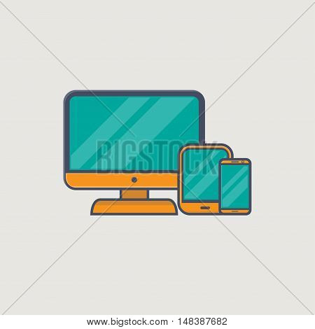 Line icons of computer monitor tablet and phone in golden colors representing responsive web site design.