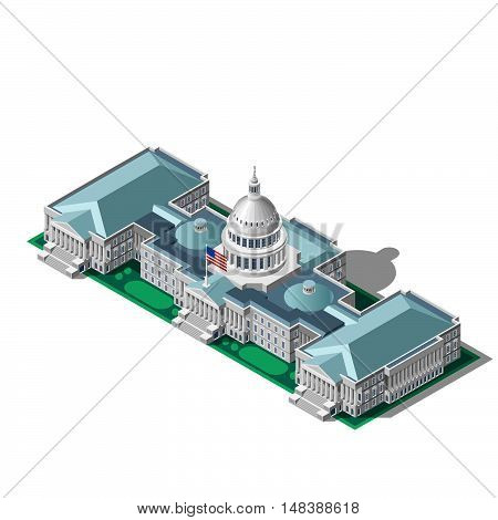 Us Washington DC capitol dome 3D flat isometric senate congress auditorium.Vector isometric building