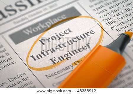 Project Infrastructure Engineer. Newspaper with the Jobs, Circled with a Orange Highlighter. Blurred Image. Selective focus. Hiring Concept. 3D Illustration.