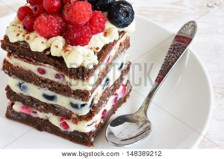 Homemade cake with berries. Celebratory cake close-up