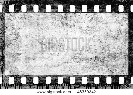 closeup of grungy filmstrip for backgrounds or designs