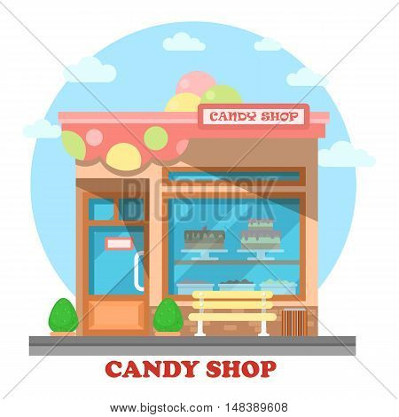 Confectionery store or shop building on street outdoor view
