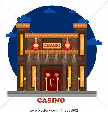 Modern casino or gambling house with lights exterior.