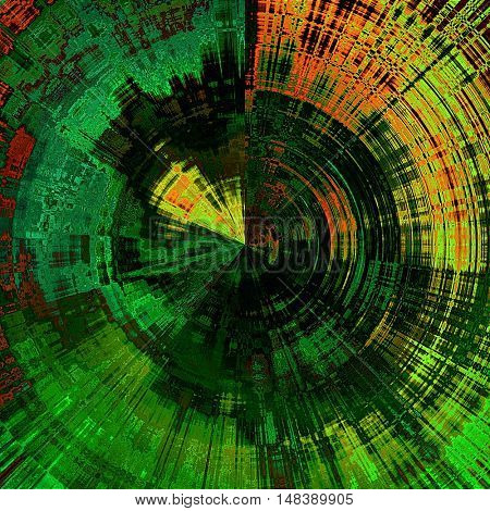 art abstract graphic spherical grunge colored background in green, gold and black colors; geometric pattern