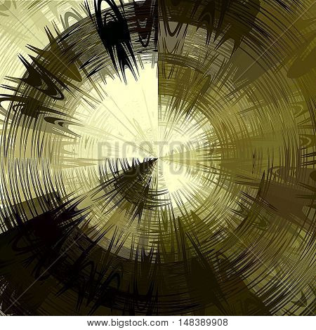art abstract graphic spherical grunge monochrome background in olive, black and light gold colors; geometric pattern