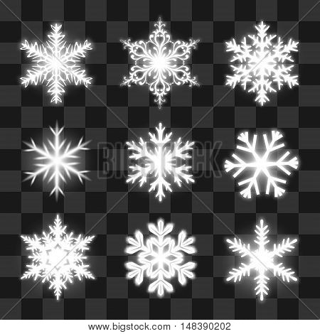 Glowing snowflakes on the transparent background. Vector Eps10.