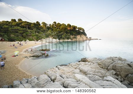 August 19, 2016-Cala Boadella beach in summer, a wonderful place for vacations, August 19, 2016 Costa Brava, Spain