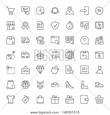 shopping and shipping icons set thin line black color