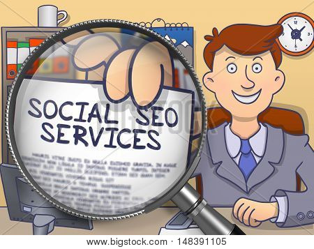 Businessman Showing a Paper with Text Social SEO Services. Closeup View through Magnifying Glass. Multicolor Modern Line Illustration in Doodle Style.