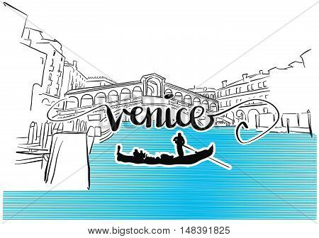 Famous Venice Rialto Bridge Greeting Card Design
