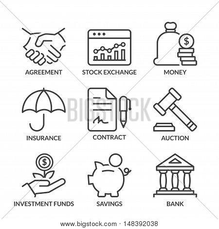 finance icons set thin line black color