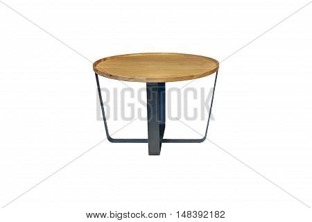 isolated luxury wooden round side table on white background with clipping path