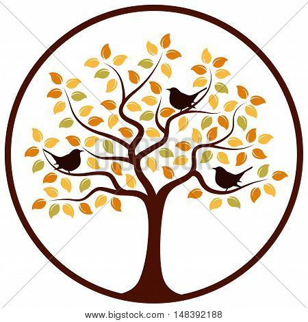 vector autumn tree and birds in round isolated on white background