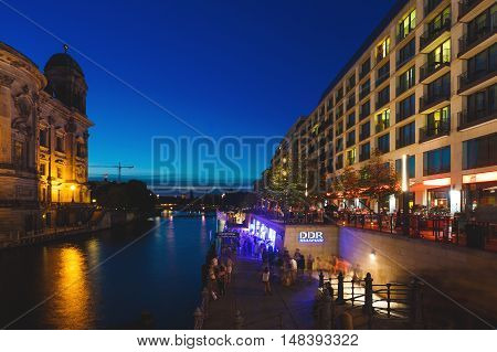 Berlin Germany August 27 2016: People visit the DDR Museum during the annual Museum Night in summer
