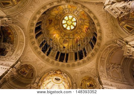Berlin Germany August 27 2016: View of the roof of Berliner Dome during the annual Museum Night in summer